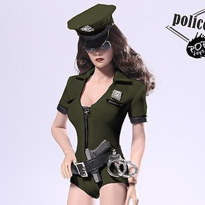 1/6 Sexy Police Woman Set Green (Fashion Doll)