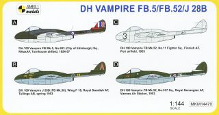 2 IN 1 Mark I 1:144 DH Vampire FB.5//FB.52//J28B /'In the North/' Plastik NEU