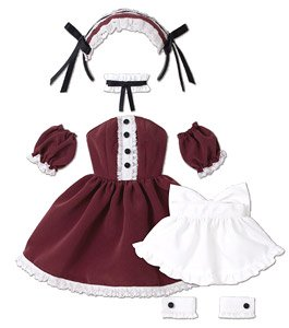 AZO2 Lolita Maid Dress Set (Bordeaux) (Fashion Doll)