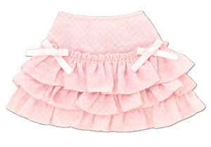 PNS Sugar Dream Osatou Ribbon Frill Skirt (Pink x White) (Fashion Doll)