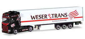 (HO) Scania CS High Roof Refrigerated Box Semitrailer  `Weser Trans` (Model Train)