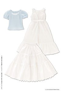 AZO2 Early Summer Dress Set (White x Light Blue) (Fashion Doll)