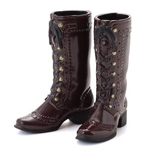 Lace-up Middle Boots Enamel Brown (Fashion Doll)