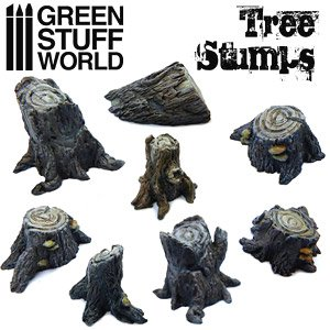 Tree Stumps (8 Pieces) (Plastic model)