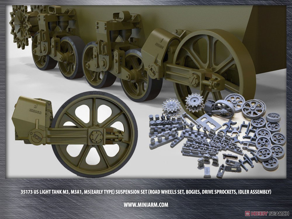 US Light Tank M3, M3A1, M5 (Early Type) Suspension Set (Road