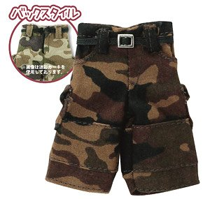 1/12 Half Cargo Pants (Camo Pattern Brown) (Fashion Doll)