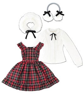 AZO2 Classical Check Jumper Dress Set (Red Check) (Fashion Doll)
