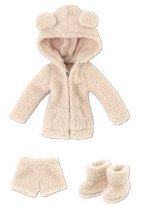Kumakuma Room Wear Set (Obitsu 11 Wearable) (Beige) (Fashion Doll)