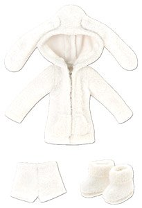 Pyonpyon Room Wear Set (Obitsu 11 Wearable) (White) (Fashion Doll)