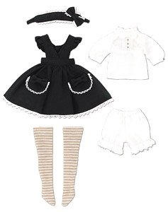LSS Yosoiki Apron One-piece Set -By Chikuro- (Black) (Fashion Doll)