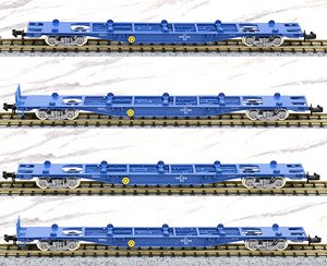 J.R. Container Wagon Type KOKI102/103 (New Color/without Container) (4-Car Set) (Model Train)