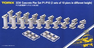 Concrete Pier Set P1 - P10 (10 Piers in Different Heights, 2 Pair) (Model Train)
