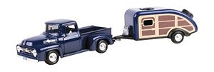 1956 Ford F-100 Pickup With House Trailer (Navy) (ミニカー)
