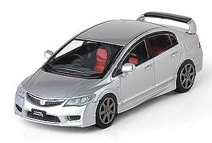 Honda Civic Type-R FD2 Silver w/Bonnet Decal, Wheel Set (Diecast Car)