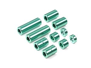 Aluminium Spacer Set (2 Each of 12/6.7/6/3/1.5mm) (Green) (Mini 4WD)