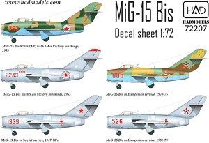 MiG-15 Bis (North Corea, Soviet, Hungarian) (Decal)