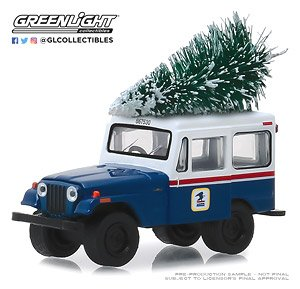 1972 Jeep DJ-5 United States Postal Service (USPS) - Blue with White Roof with Christmas Tree Accessory (Diecast Car)