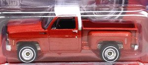 1973 Chevy Cheyenne Truck Fleetside Lowered - Flame Red w/White Roof and White Sides (Diecast Car)