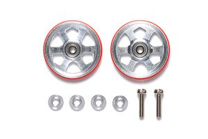 19mm Aluminum Rollers (6 Spokes) w/Plastic Rings (Red) (Mini 4WD)