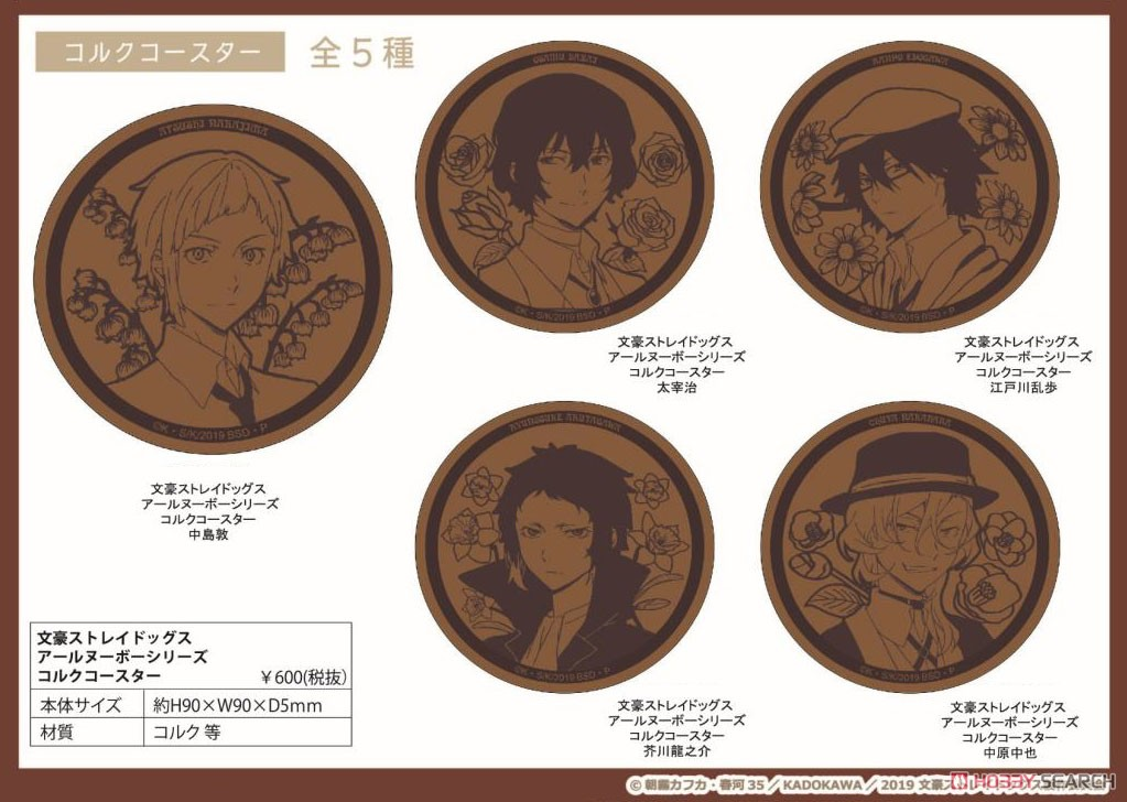 Bungo Stray Dogs Art Nouveau Series Cork Coaster Ranpo Edogawa (Anime Toy) Other picture1