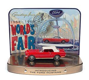 1964 Ford Mustang in Rangoon Red with 1964 World`s Fair Tin Display (ミニカー)