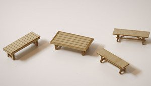 1/83(HO) Bench (About 1/83) 3 Types (4 Pieces) (Unassembled Kit) (Model Train)