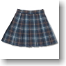 Pleats Tartan Check Skirt (Navy Tartan) (Fashion Doll)