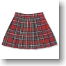 Pleats Tartan Check Skirt (Red Tartan) (Fashion Doll)