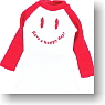 Smile Print T-Shirt (Red/White) (Fashion Doll)