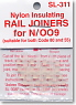 N/HO Narrow (OO-9/HO-e) Nylon Insulating Rail Joiners for N/OO9 (12pcs.) (Model Train)