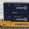 Gunderson MAXI-IV Double Stack Car TTX New Logo #745483 with UMAX Containers (3-Car Set) (Model Train)