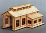 HO Scale Size `Wooden Kit` Wooden Engine Shed (Single Track) S (Unassembled Kit) (Model Train)