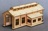 HO Scale Size `Wooden Kit` Wooden Engine Shed (Single Track) M (Unassembled Kit) (Model Train)