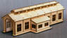 HO Scale Size `Wooden Kit` Wooden Engine Shed (Single Track) L (Unassembled Kit) (Model Train)
