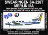 Swearingen SA-226T Merlin IIIA (Twin Engine Turboprop Utility Plane Decals for Belgium-Air Force,Melsbroek,1990) (Plastic model)