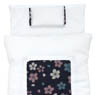 1/6 Cherry Blossom Fine Pattern Futon Set (Pillow/Duvet/Mattress Set) (White x Azure) (Fashion Doll)