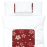 1/6 Cherry Blossom Fine Pattern Futon Set (Pillow/Duvet/Mattress Set) (White x Scarlet) (Fashion Doll)