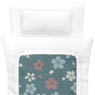 1/12 Cherry Blossom Fine Pattern Futon Set (Pillow/Duvet/Mattress Set) (White x Pale Blue Green) (Fashion Doll)
