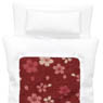1/12 Cherry Blossom Fine Pattern Futon Set (Pillow/Duvet/Mattress Set) (White x Scarlett) (Fashion Doll)