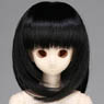 50cm Wig New Shoulder Length Hair 7-8inch (Black) (Fashion Doll)