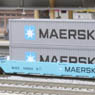 Gonderson MAXI-I Double Stack Car MAERSK #100008 with MAERSK Contariners (5-Car Set) (Model Train)