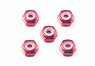 GP493 2mm Arumi Locknut (Red/5pcs) (Mini 4WD)
