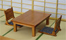 1/12 Table of Cypress & Legless Chair Set (Fashion Doll)